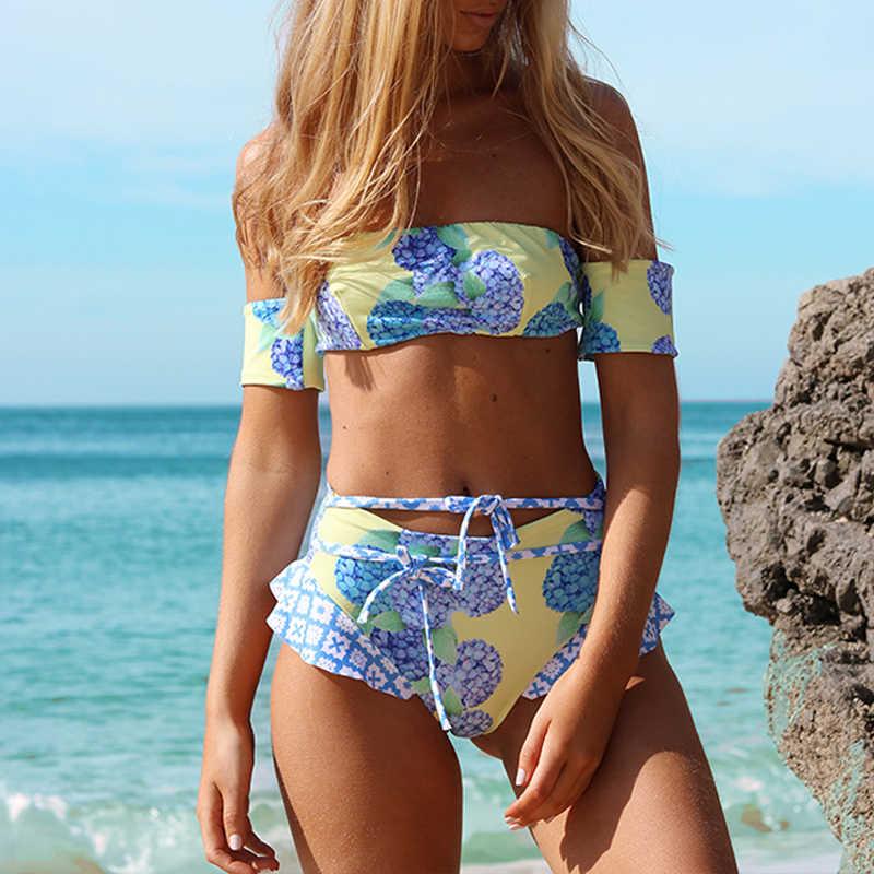 d86c6330b589 ... Off shoulder top bikinis 2018 woman Print lace up swimsuit female  Ruffle high waist bikini set ...