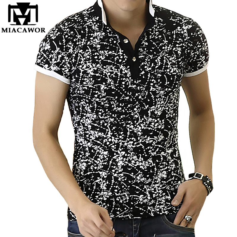 2018 New Men POLO Shirt Fashion Print Polo Homme Slim Fit Summer Short-sleeve Cotton Camisa Polo Brand Clothing MT534