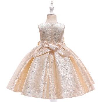 Champagne, hecho a mano, tutú floreado, vestidos formales de satén, vestidos de primera comunión para niñas pequeñas 2019