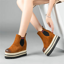 NAYIDUYUN    Winter Warm Riding Boots Womens Genuine Leather High Heels Round Toe Ankle Boots Wedges Platform Punk Pumps Shoes