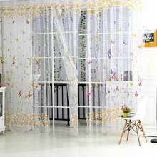 Butterfly Floral Tulle Voile Window Curtain Voile Curtain Decoration For Living Room
