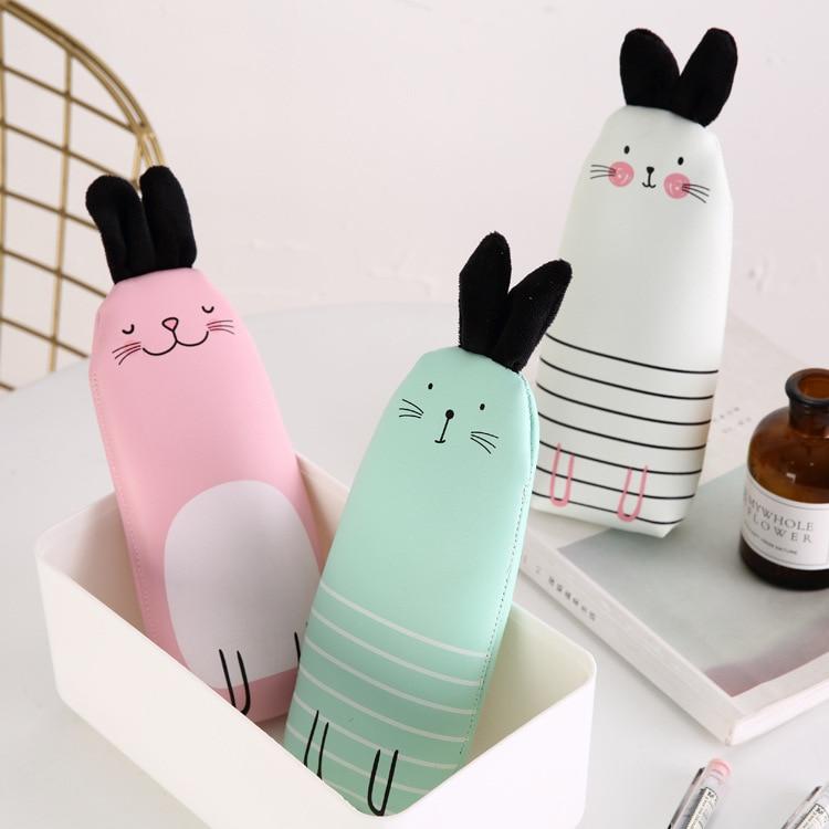 1 Pcs Kawaii Pencil Case Rabbit PU Leather Gift Estuches School Pencil Box Pencilcase Pencil Bag School Supplies Stationery