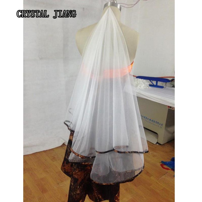 Buy camo wedding veils ribbon edge one for Camo ribbon for wedding dress