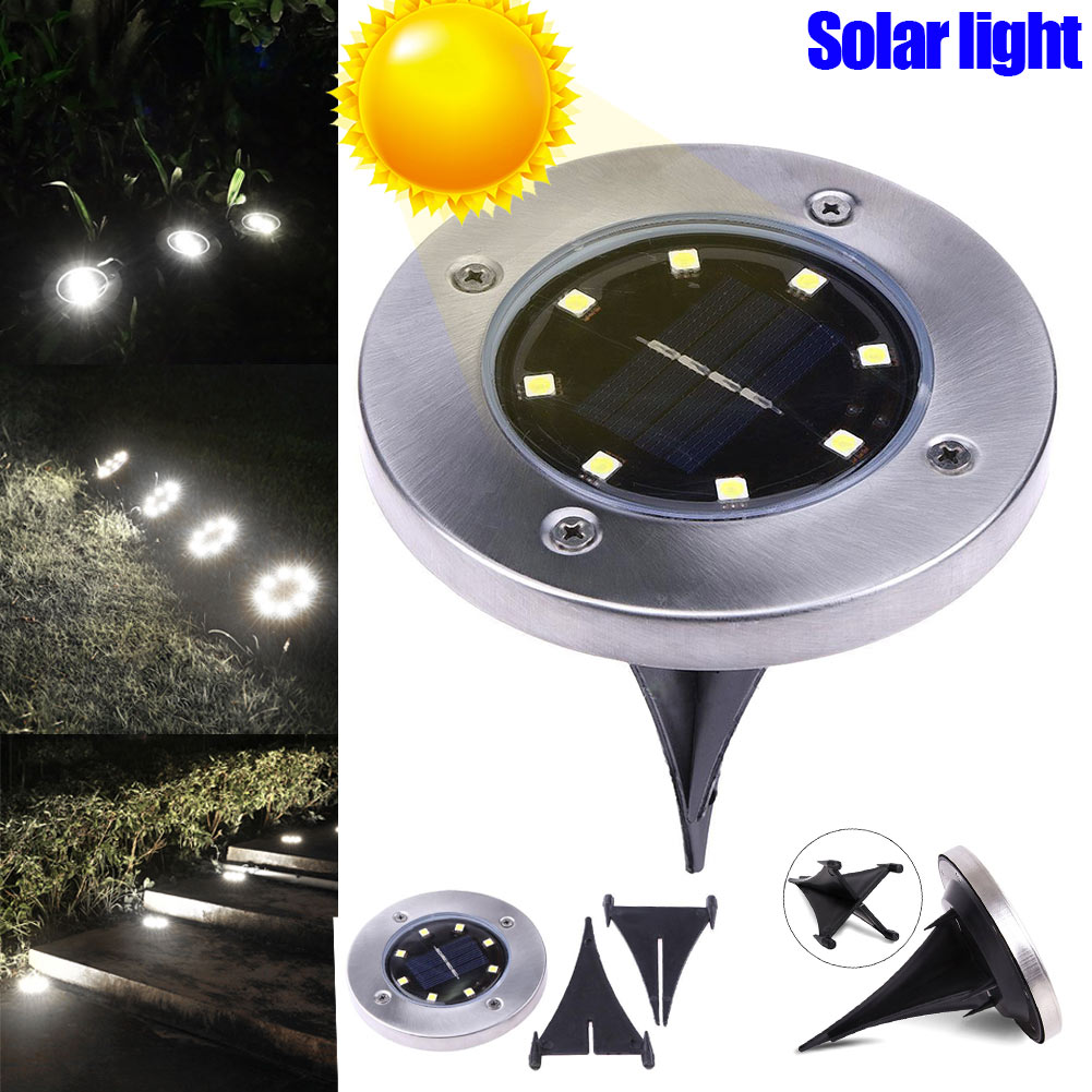 LED Solar Power Buried Light 8 LEDs Ground Lamp Outdoor Path Way Garden Decor CLH@8