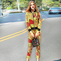 2017 Spring Women's Runway Set Fashion Long Sleeve Print Zipper Jacket and Ankle Length Pants Suit Set Casual Clothing Sets