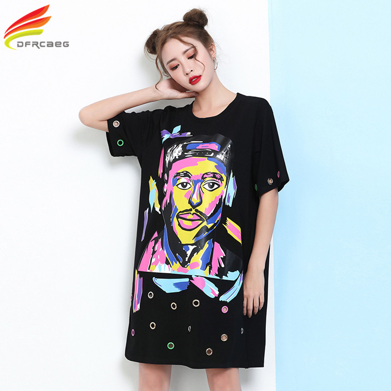 Buy Cheap Women Summer Dress 2017 New Arrivals Half Sleeve Character Printed Ladies Casual Dresses Plus Size Women's Clothing Tshirt Dress