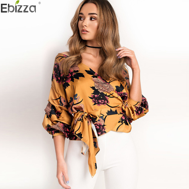 ec22b2be748e Ebizza Deep V Neck Long Sleeve Floral Print Blouse Wrap Off Shoulder Women  Top Lace Up Shirts Puff Sleeve Elegant Belted Blouse