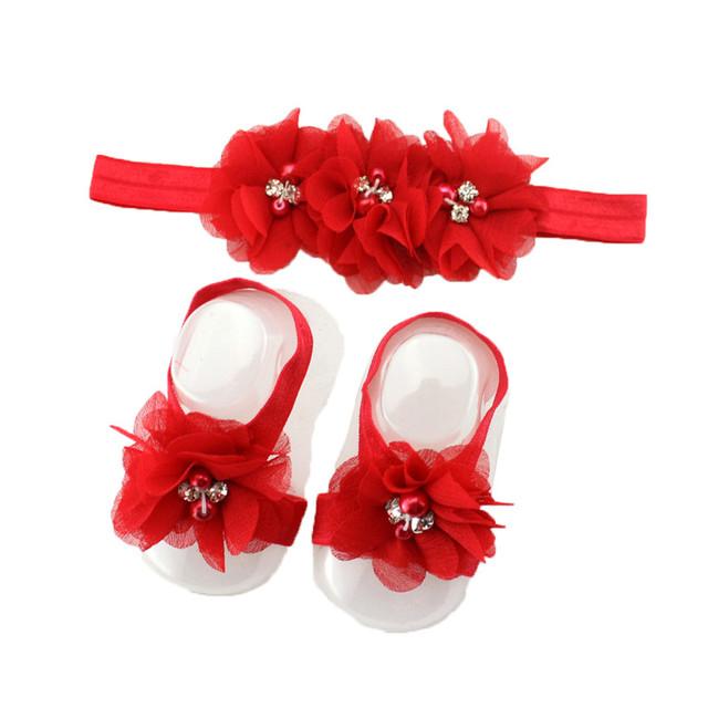 Newborn Barefoot Sandals & Headband Set