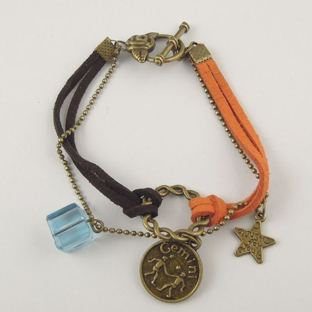 AM0335 New Leather Alloy Crystal Bracelet Zodiac Astrological Sign Horoscope Aquarius Gift 16cm 1PC