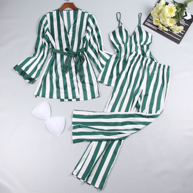 Satin Sleepwear Female Women   Pajamas     Sets   Fashion Spaghetti Strap Tops Stripes Sleep Lounge Summer Home Clothing Pijama 3 Piece