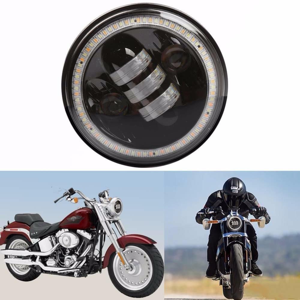 ФОТО 1pcs 5.75inch 50W 5000LM 3000LM High Low Beam with Halo Angle Eye LED Headlight for Harley Davidson Motorcycle