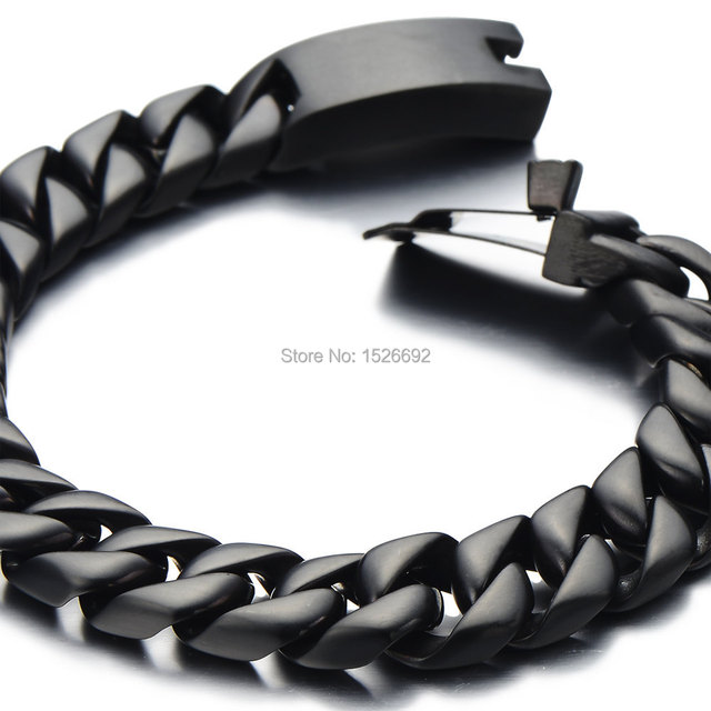 Black Cuban Chain Bracelet Men Stainless Steel Curb Male