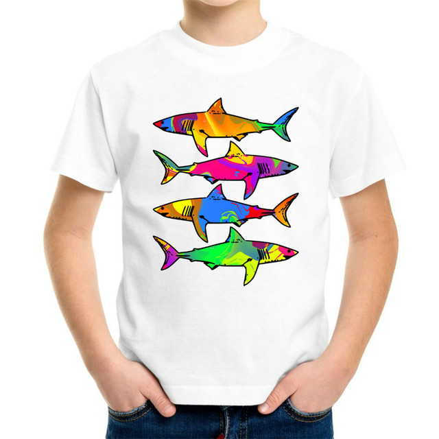 e4f2c402fe3f Joyonly 2018 Summer Boys Girls Fashion 3d T shirt Kids Colorful Animal Shark  Paint Printed T-shirt Children Cool Tees Tops 4-20Y