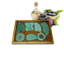 Traditional Acupuncture Massage Tool Guasha Beauty board Natural Stone 2pcs/set (square+big square shape) traditional acupuncture massage spa tool guasha board natural green agate stone fat u shape