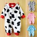 2016 детские пижамы ползунки фланель осень-весна новорожденных детская одежда Малыша мальчиков и девочек С Длинным рукавом комбинезон для новорожденных babywear