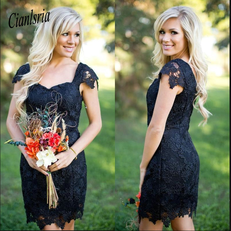 Capped Sleeves Cooktail Dresses Country Style Sheath Mini Dress Sexy Cocktail Party Homecoming Dress