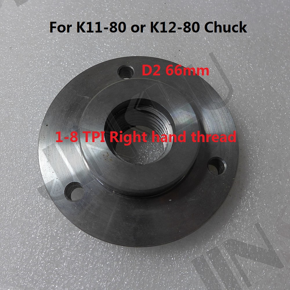 1-8 TPI Spindle Thread Chuck Flange Back Plate Base Plate Adapter Plate For K11-80 K12-80 3 Inch 3 Jaws 4 Jaws Chuck