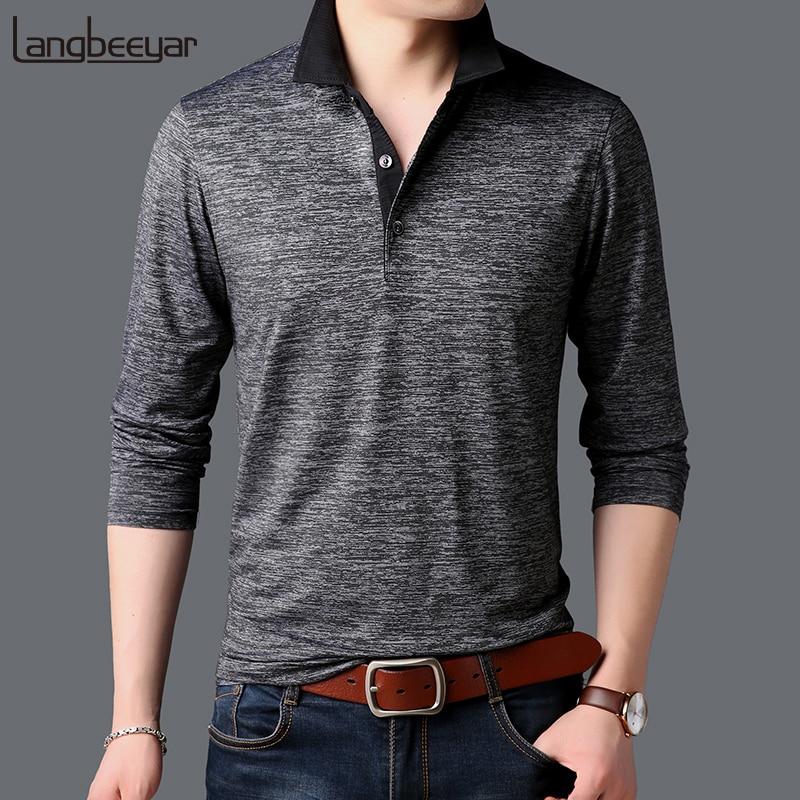 2019 New Fashion Brands   Polo   Shirt Men British Style Collar Shirt Street Wear Slim Fit Long Sleeve Poloshirt Casual Clothes