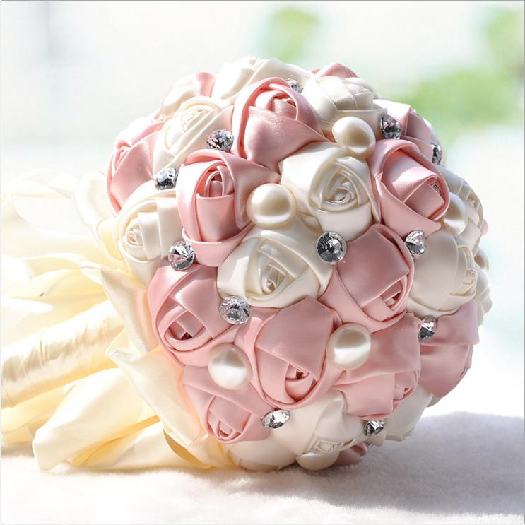 Pink Ivory Satin Wedding Flowers for Bridesmaid Bouquet Rose Brooch Purple Red Pearls Silk Ribbon Wedding Bouquet Holder boeket
