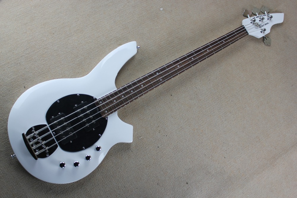 Hot Selling Active Pickup Musicman Bongo white 4 String Electric Bass Guitar Music Man Bass Free Shipping white ashwood high quality 5 string bass guitar with active pickup