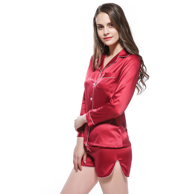 105f776fe women summer short pants pajamas sets full sleeve satin silk lingerie cute  cardigan sleepwear with button pijamas