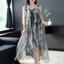 b2e52714880 Women s clothing in the summer of 2018 the new silk dress to restore  ancient ways ink printed in the long silk dress
