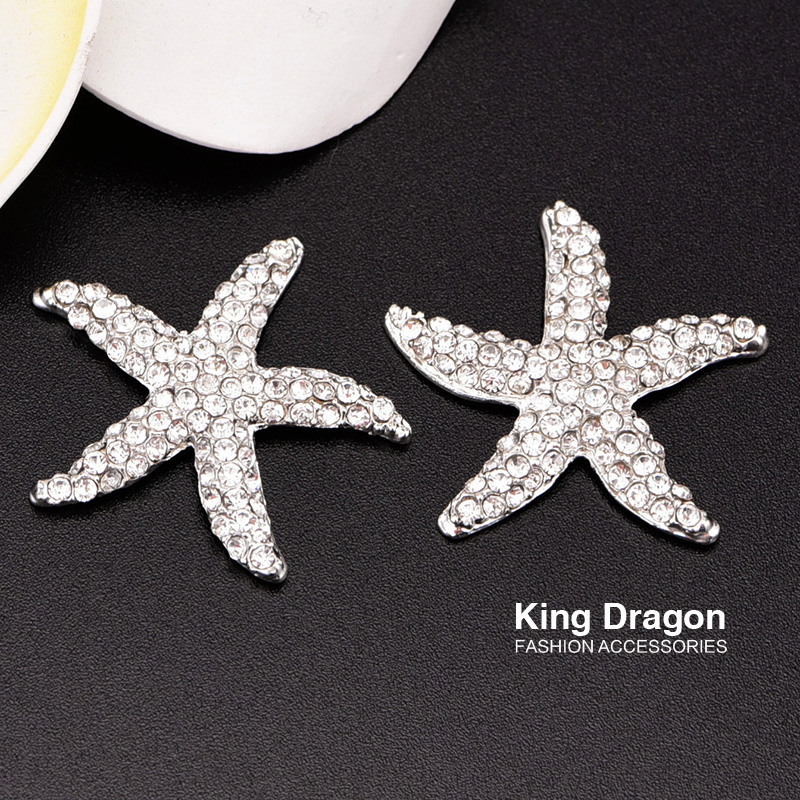 Flat Back Rhinestone Starfish Embellishment Button Used On Wedding Invitation 32MM 100PCS Lot Silver Color KD135