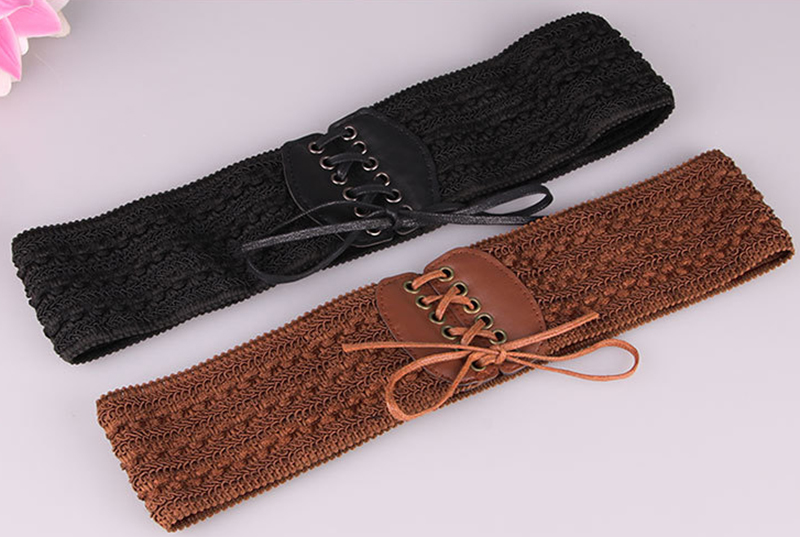 European And American Fashion Women Width Belt Buckle Carved Wide Girdle Ms. Elastic Waistband Wild Female Models Belt