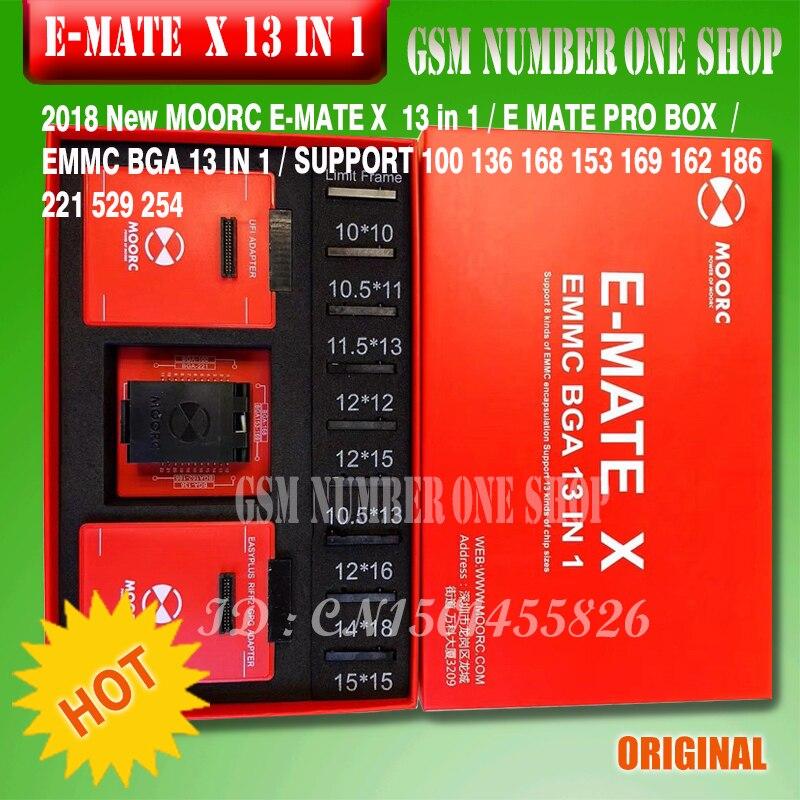 2019 originale Nuovo MOORC E-MATE X E COMPAGNO di BOX PRO EMMC BGA 13 IN 1 SUPPORTO 100 136 168 153 169 162 186 221 529 254 + + Trasporto libero