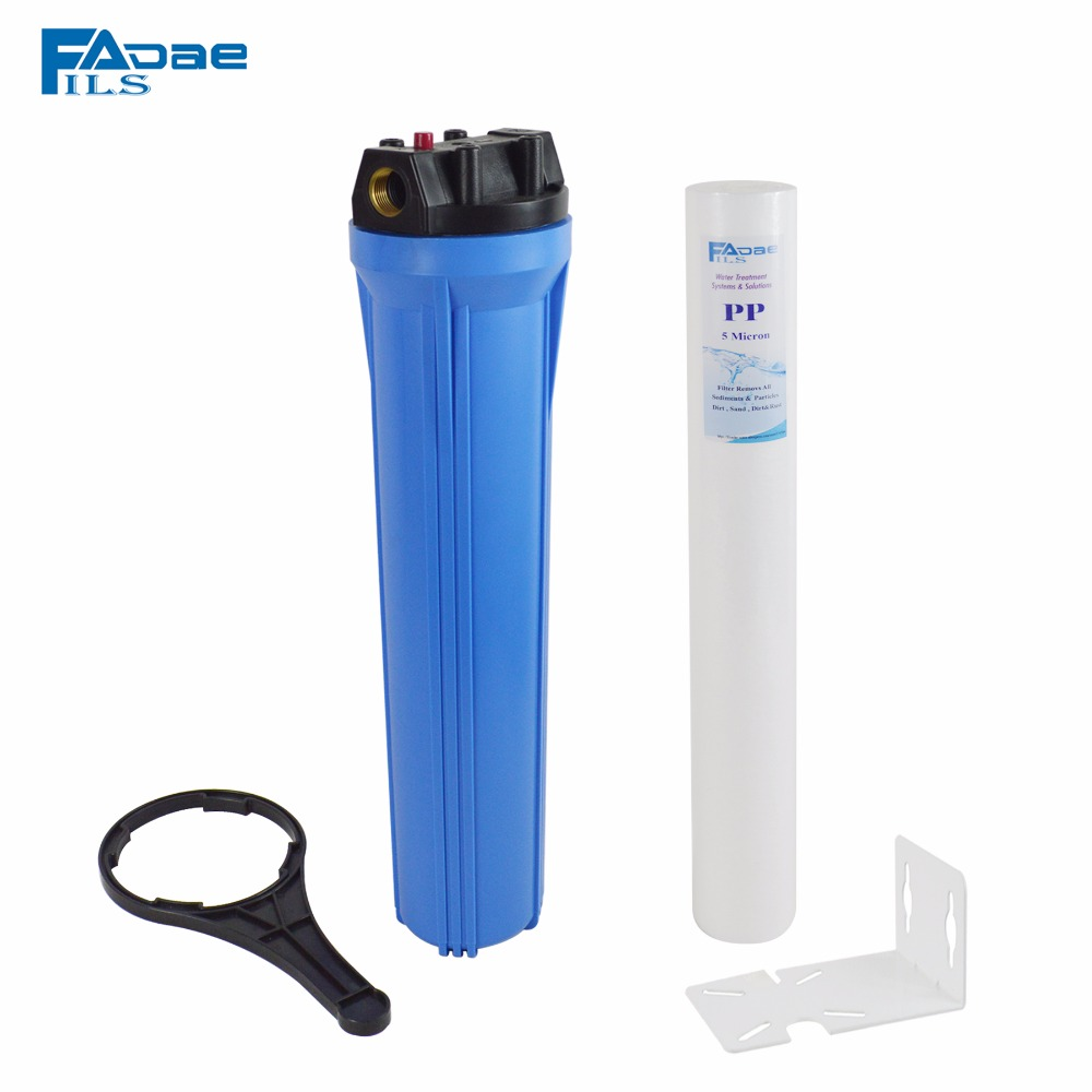 "Фотография 20"" Slim Blue water filter housing include one pp sediment filter 5 micron/wrench/bracket,3/4"" Thread female"