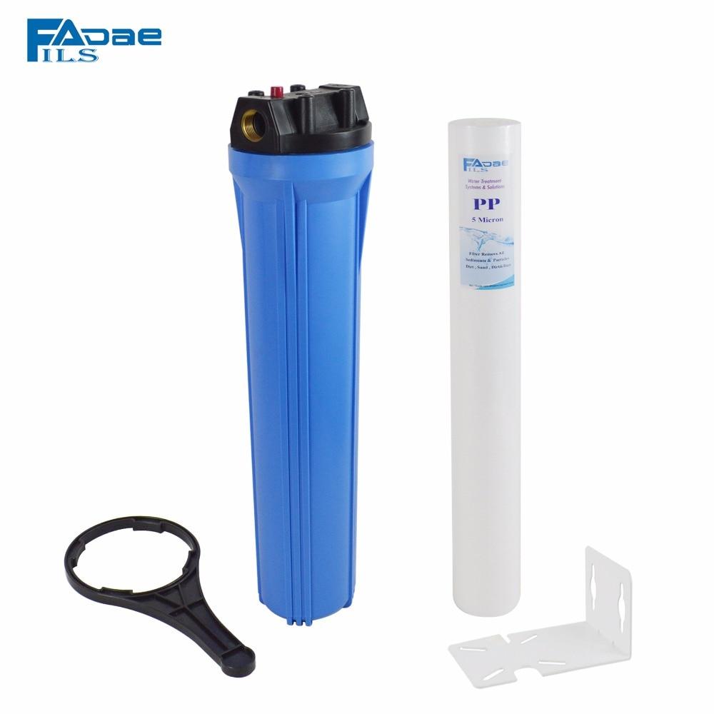 20 Slim Blue water filter housing include one pp sediment filter 5 micron/wrench/bracket,3/4 Thread female смесители blue water в киеве