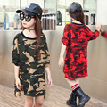 Free Shipping New Girls Fashion Camouflage Long Sleeved T-Shirt Long irregular leisure girl t-shirts Size 120-160