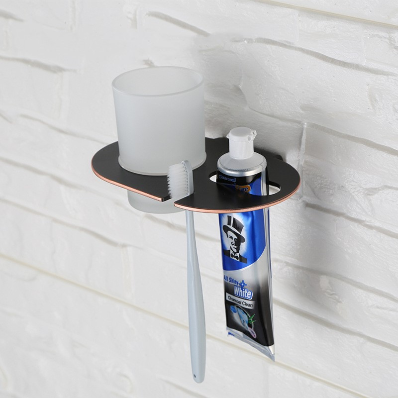 Oil Rubbed Bronze Black Finish bathroom stainless steel Toothbrush cup holder 170*120*95mm Unique design Bathroom Accessory image