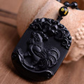 Natural Black Obsidian Pendant Carved Chinese Zodiac Cock Pendant Bead Necklace Lucky Amulet Men Women's Fashion Jade Jewelry