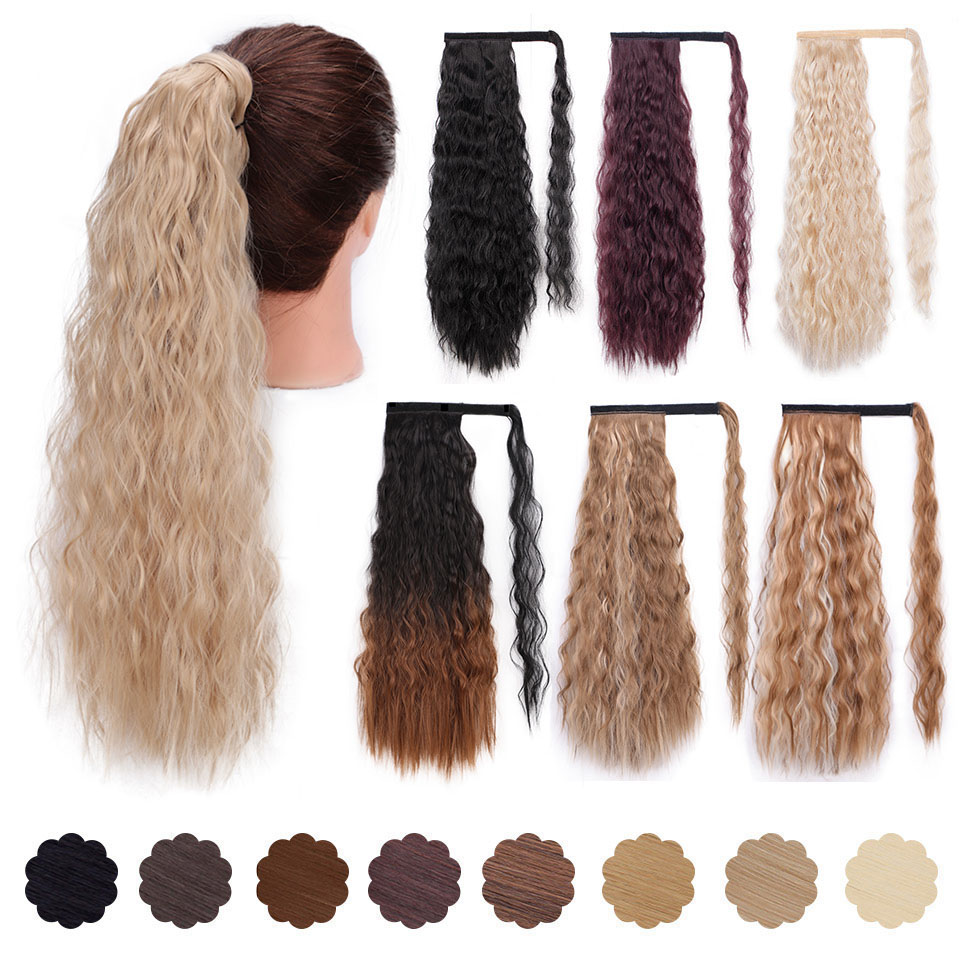 Wavy Ponytail Extension For Women Synthetic Wrap Around Magic Paste Yaki Ponytail Corn Wave Clip In Hairpiece Black Fake Hair