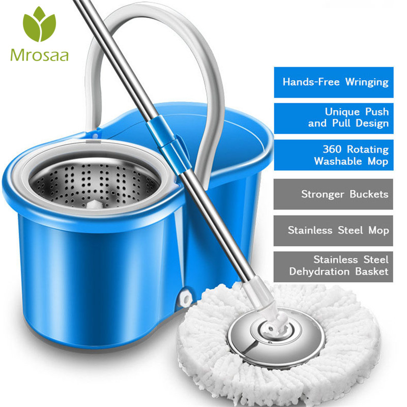 360 vadrouilles rotatives cuisine sol nettoyage Portable inoxydable double-entraînement main pression spin Microfibre tissu tête avec seau