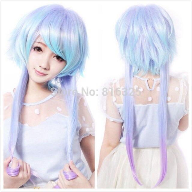 Wholesale 305 Fashion Girl Mixed Blue White Hair Long Anime Cosplay