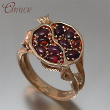 CANNER Red Crystal Rings for Women Ethnic Boho Garnet Stone Engagement Wedding Fruit Fashion Jewelry Finger Ring Gifts