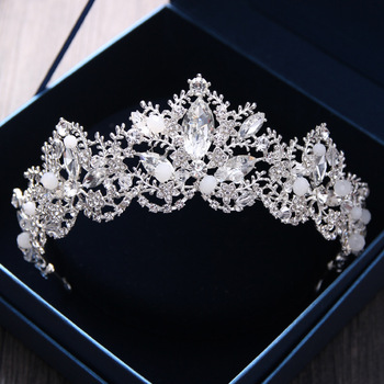 Baroque Luxury Crystal AB Bridal Crown Tiaras Light Gold Diadem Tiaras for Women Bride Wedding Hair Accessories 3