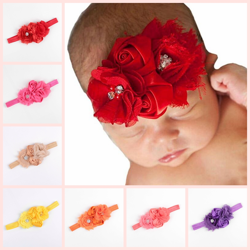 Shabby Flower Baby Headband Chic Rose Flower Қыздар Headband Hair Bow Flower Headband Baby Girls Hair Accessories