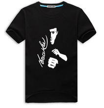 New Men Bruce Lee T shirt Hip-hop Short Sleeve Tee Cotton O-neck Print Tops