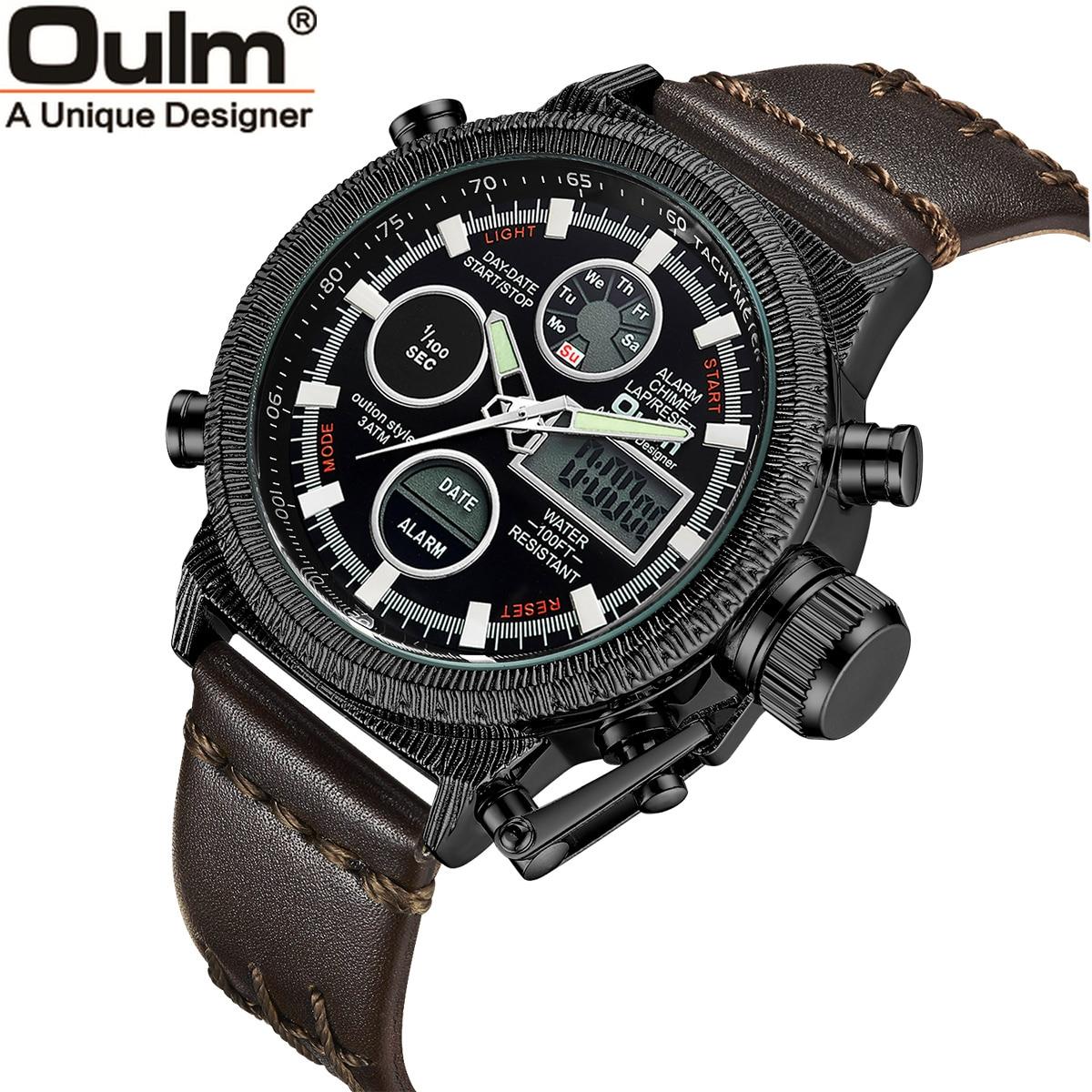 Oulm hommes montres de luxe marque en cuir montre de sport hommes Unique hommes Quartz LED horloge numérique étanche montre-bracelet militaire