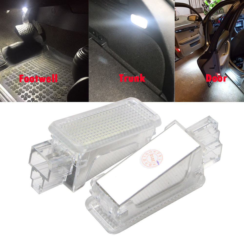 12V Car LED Courtesy Door Projector Light For Audi A3/A4/A6/VW/Skoda Foot Nest Lights Led trunk Luggage Light Lamp 6500K White rockeybright 1set car interior lamp auto footwell light for audi a2 a4 under door trunk light led door courtesy backlight lamps