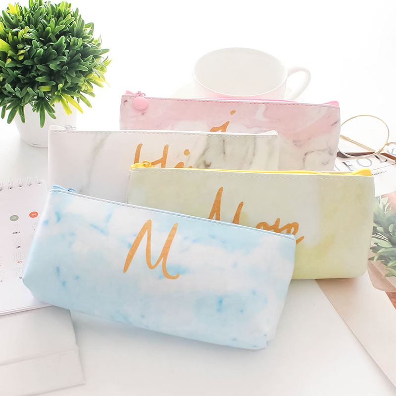 New Creative Marble PU Leather Pencil Cases Stationery Storage Pen Bag Gifts School Office Pencil Bags Pencil Pouch