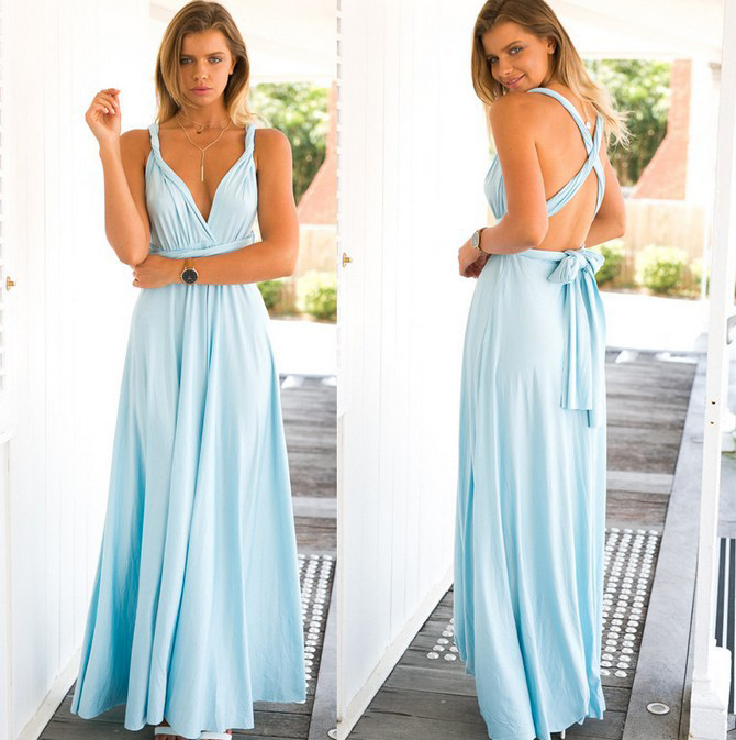 Summer Beach Multicolor Dresses Mixed Style Chiffon Boho Wrap Sexy Multiple Wearing Methods Dress Evening Wear Halter in Dresses from Women 39 s Clothing