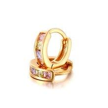 Золотой цвет 4 цвета CZ петля маленькие круги Huggies Серьги-кольца для женщин детей девочек детские ювелирные изделия Brinco Pequeno Aros
