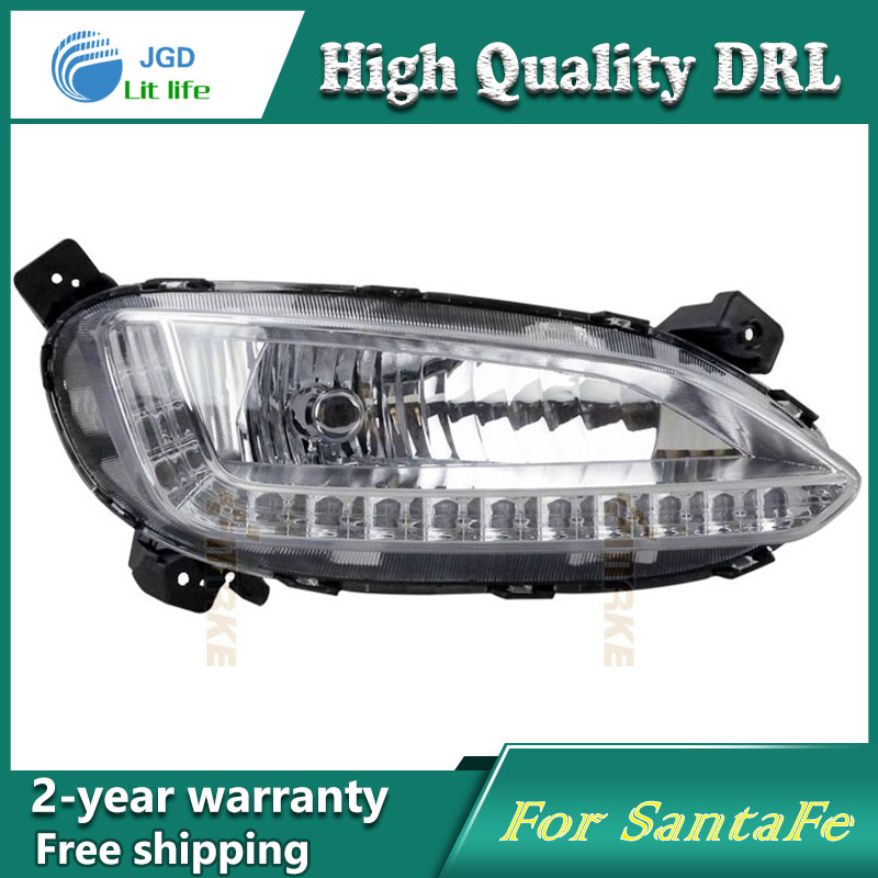 Free shipping !12V 6000k LED DRL Daytime running light case for Hyundai SantaFe IX45 2013 fog lamp frame Fog light Car styling