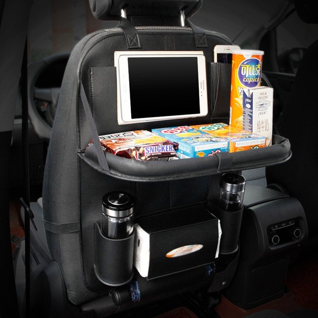 Leather Car Seat Back Folding Portable Storage Box Multi-Use Car Organizer Car Portable Tissue Storage Bags