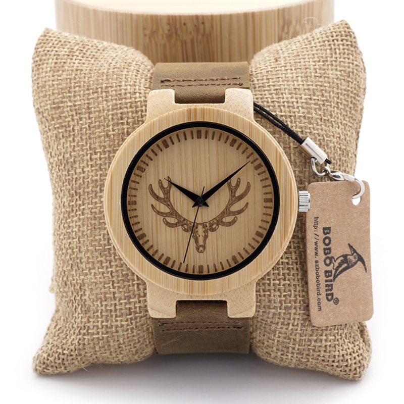 BOBO BIRD D15 Bamboo Wood Watch Men Deer Head Engraving Leather Band Wood Japan Movement Quartz Watches vintage Men Gift Box bobo bird round vintage deer head bamboo wood quartz analog wrist watch for top luxury men watch with leather strap in gift box