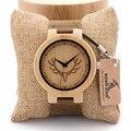 Homens relógio de madeira de bambu veados cabeça bobo bird d15 gravura Presente de Madeira Banda Movimento Japão Relógios de Quartzo de couro Dos Homens do vintage caixa